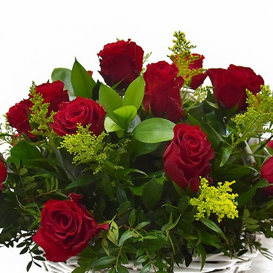 Basket arrangement with 11 red roses